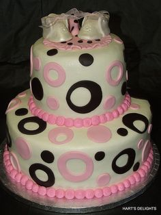 Pink and Chocolate Brown Baby Shower Cake