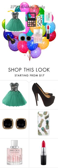 """27th Birthday Party"" by abbyhursh ❤ liked on Polyvore featuring Christian Louboutin, Phillip Gavriel, Sonix, Jimmy Choo and MAC Cosmetics"