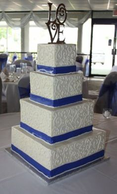Cobalt Blue Ribbon Wedding Cake