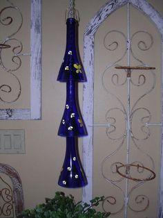 Recycled glass bottle garden yard art wind chime with butterflies cobalt blue. Wine Bottle Art, Wine Bottle Crafts, Blue Bottle, Vodka Bottle, Butterfly Wind Chime, Yard Art Crafts, Recycled Glass Bottles, Glass Wind Chimes, Bottle Garden