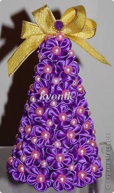 Craft Master Class New Year product Tsumami Kanzashi MK Christmas trees of satin ribbons Ribbons photo 1