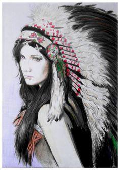 Native American Girls | Native American Girl Drawing
