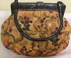 WCL Vintage Purse Embossed Little Roses Flowers Ceramic Cookie/Candy Jar w/ Lid