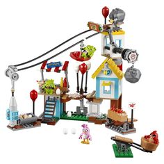 The piggies are in Pig City, trying to hide eggs everywhere. Launch the birds using the catapult! Topple the buildings by striking the 4 collapsible target zones. This fun and chaotic set, based on The Angry BirdsTM  Movie, features a small house, bridge, hot dog stand, zip-lining piggy and a TNT chain reaction feature! Includes 4 figures.