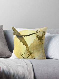 'Cactus & Deer in gold ' Throw Pillow by Amanda D-Hay