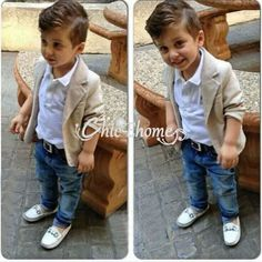 Gentleman Kid Baby Boy Formal Jacket Coat Top Shirt Jeans Outfit Clothes 3PC Set