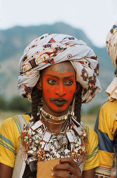 Woodabe man from southern Chad at Worso celebration dressed in best attire to present himself to women who choose their husbands.