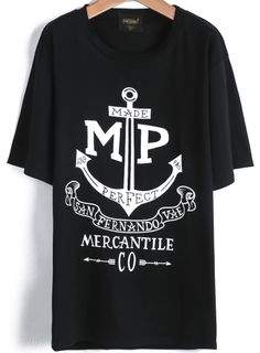 Black Short Sleeve Anchors Letters Print T-Shirt EUR€12.77