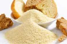 Stale bread and finely ground breadcrumbs stock photo