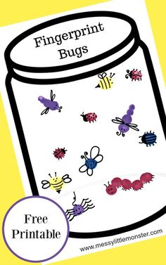 Fingerprint Bug Jar Craft is part of Kids Crafts Ideas Bugs - Fingerprint bug jar craft for kids with free printable jar A fun and easy bug activity idea for Spring, Summer, bugs and insect themed projects for toddlers, preschoolers and kids Spring Art Projects, Spring Crafts For Kids, Spring For Preschoolers, Insect Crafts, Insect Art, Insect Activities, Toddler Activities, Toddler Learning, Family Activities