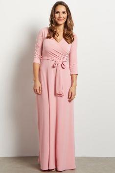 Pink Draped 3/4 Sleeve Maxi Dress