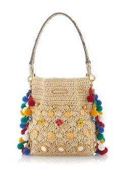 Shop Claudia with Pom Poms Bucket Bag. This Spring Summer 16 collection is rife with Sicilian references, manifested in spring's elaborate Renaissance emblems, majolica ceramic heels, and pom-pom embellishments. Handmade Handbags, Handmade Bags, Dolce & Gabbana, Bucket Bag, Crochet Purses, Crochet Bags, Boho Bags, Types Of Bag, Knitted Bags