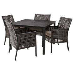 Threshold Edgebrook 5 Piece Wicker Patio Dining Furniture Set