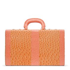 """All Aboard Posh faux-ostrich vanity case  (Orange) with top carrying handle, faux-croc trim, three-digit combination lock and clasp closures, micro-fiber lining, two-layer construction with two inlaid accessory boxes and snap closures; 9"""" L x 15"""" W x 8.25"""" D; ($)39.95 buy 1 get 1 free    http://www.shoedazzle.com/invite/jxi3rt79t"""