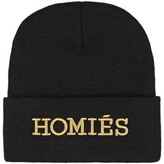 Brian Lichtenberg Homiés knitted beanie ($26) ❤ liked on Polyvore featuring accessories, hats, beanie, hair accessories, black, embroidered beanie hats, beanie cap hat, black hat, embroidery hats and black beanie cap