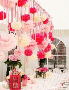Декор свадьбы: бумажные помпоны, веера, цветы   106 фотографий