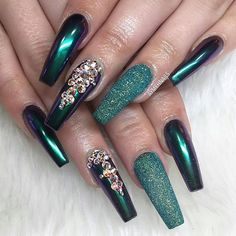 Best Collection of Long Nail Designs - Best Nail Art Glam Nails, Fancy Nails, Trendy Nails, My Nails, Long Nail Designs, Acrylic Nail Designs, Nail Art Designs, Exotic Nail Designs, Nailart