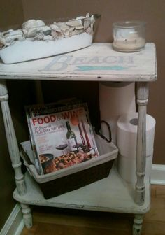 DIY Vintage Chic: Upcycled Side Table.... Beach style!
