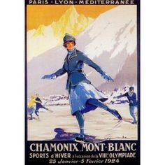 Chamonix, Mont-Blanc, Haute-Savoie, Alps. Affiche, poster rétro, 1924