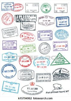 Buy Postage and Passport Stamps by Seyyahil on GraphicRiver. High details vector passport and postage stamps. Like real stamp, rough and cracked. Travel Stamp, Travel Logo, Travel Maps, Passport Travel, Travel Packing, Passport Template, Passport Stamps, Clipart, Tattoo Diy