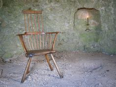 century fruitwood primitive stick back chair with original paint