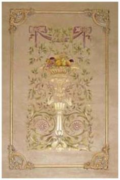 French Renaissance Hand-Painted Canvas Centers for Architectural Wall Panels|Stencils|Faux Finishes|Wallpaper|Fine Painting|by Beaux-Artes. Beaux-Artes offers hand painted canvas panels to be used in conjunction with their wall panel sets | Beaux Arts