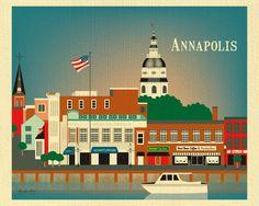 Annapolis prints, city dock art print