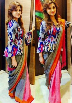 Long length blouse designs are highly in trend and all thanks to various celebrities and designers who have made this design practically cool and one o the best. Long blouse patterns are perfect fo Sari Blouse Designs, Saree Blouse Patterns, Choli Designs, Fancy Blouse Designs, Designer Blouse Patterns, Lehenga Blouse, Latest Blouse Patterns, Peplum Blouse, Latest Blouse Designs