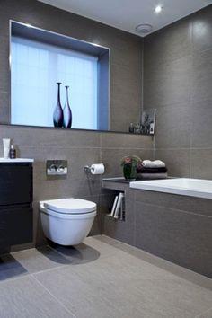 "Bathroom Tiles Ennis white bathroom with charcoal floor tiles and caesarstone ""snow"
