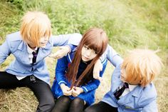Haruhi and the twins Ouran High School Host Club. Credit goes to the cosplayers