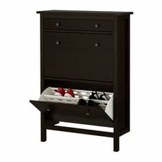 HEMNES Shoe cabinet with 2 compartments, black-brown, A place to organize and store all your shoes, making life on the go a little easier. The simple, classical design with a touch of tradition looks great with other furniture in the HEMNES series. Ikea Hemnes Shoe Cabinet, Shoe Drawer, Entryway Shoe Storage, Ikea I, Shoe Organizer, My Living Room, My New Room, Home Organization, Organizing Ideas