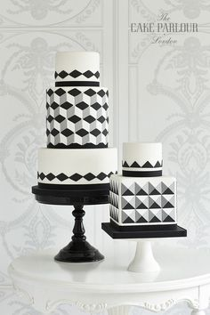 Beautiful bespoke award-winning wedding cakes designed and created with love by Zoe Clark and her team at The Cake Parlour. Gorgeous Cakes, Pretty Cakes, Cute Cakes, Amazing Cakes, Fondant Cakes, Cupcake Cakes, Geometric Cake, Geometric Wedding, Geometric Designs