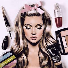 by Natalia Vasilyeva Fashion Mark, Makeup Face Charts, Beauty Salon Logo, Fashion Wall Art, Watercolor Fashion, Fashion Sketches, Makeup Art, Pop Art, Illustration Art