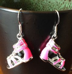Pink sandal earrings. GLADIATOR shoe earrings. Flip flop earrings. Unusual earrings. Shoe liver earrings. Shabby chic. Summer flat shoes. by ArtisticEarsByPeggy on Etsy