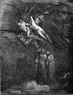 Doré, Gustave - Virgil pointing out the Erinyes -Inferno-