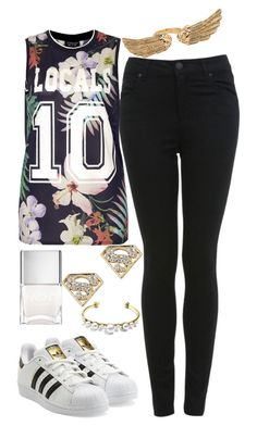 """""""Untitled#1262"""" by mihai-theodora ❤ liked on Polyvore featuring adidas Originals, Miss Selfridge, Topshop, Nails Inc. and Forever 21"""