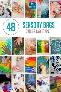 48 Quick Sensory Bags to Make for Your Kids Sensory bags the perfect way for babies, toddlers and preschoolers to explore safely. They can also be a tool for kids to learn colors, math, and words! Baby Sensory Play, Baby Play, Baby Sensory Bags, Sensory Board For Babies, Diy Sensory Toys, Sensory Rooms, Sensory Boards, Infant Activities, Preschool Activities