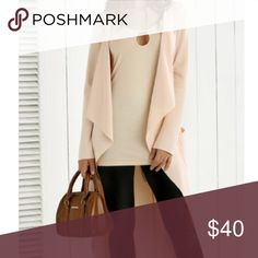 """Tie-Back Asymmetrical Trench •SALE• This piece is so soft! Asymmetrical light weight length trench coat in small. measurements are below. Solid pink blush color,  with pockets, collarless feature. Perfect for Fall throughout Spring! 🍁☀️❄️Bust: 34"""" • Length: 42"""" • Sleeve Length: 22"""" ***************Not ZARA brand, tagged for exposure!*************** Zara Jackets & Coats Trench Coats"""
