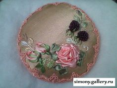 Lovely idea for pincushion! Like the Roses and beaded Berries! Silk Ribbon Embroidery, Pincushions, Berries, Decorative Plates, Sewing Kits, Pillows, Create, Flowers, Projects