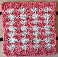 Dishcloths • Free Crochet Patterns  #15 Simple Shells Crochet Dishcloth