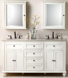 Home Decorators Collection Hamilton 61 in. W x 22 in. D Double Bath Vanity in Ivory with Granite Vanity Top in Grey - The Home Depot Bathroom Vanity Designs, Bathroom Sink Vanity, Bath Vanities, Small Bathroom, White Bathrooms, Bathroom Ideas, Bathroom Storage, Bathroom Makeovers, Downstairs Bathroom