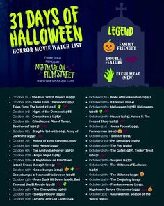 31 Days Of Halloween 2018 Horror Movie Marathon List Printable - Halloween Makeup Halloween 2018, Halloween Movies List, Halloween Movie Night, Halloween Horror Movies, 31 Days Of Halloween, Halloween Desserts, Scary Halloween, Halloween Makeup, Horror Movie Costumes