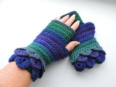 Fingerless Crochet Mitts with Dragon Scale Cuffs Sapphire Purple and Emerald Handmade Crafts, Handmade Items, Crochet Mitts, Fingerless Mitts, Dragon Scale, Wrist Warmers, Winter Warmers, Double Knitting, Christmas Fun