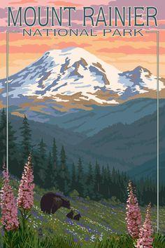 Mount Rainier National Park - Bear Family & Spring Flowers - Lantern Press Poster