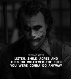When people cut you down or talk behind your back, remember, they took time out of their pathetic lives to think about you! Have A Fabulous Day! Heath Ledger Joker Quotes, Best Joker Quotes, Badass Quotes, Real Life Quotes, True Quotes, Words Quotes, Funny Quotes, Dark Quotes, Wisdom Quotes