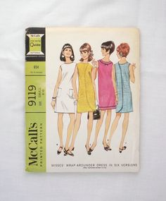 Vintage McCall's dress pattern 9119 wrap around dress size small by ResourcefulGoods