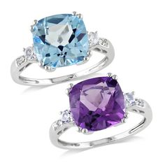 @Overstock - Cushion-cut amethyst or topaz with sapphires and diamond ring10-karat white gold jewelryClick here for ring sizing guidehttp://www.overstock.com/Jewelry-Watches/Miadora-10k-White-Gold-Multi-Gemstone-and-Diamond-Ring-G-H-I1-I2/7310557/product.html?CID=214117 $219.99