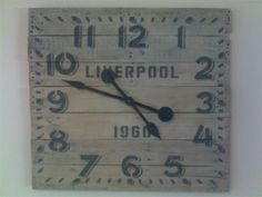 3ft custom made working pallet clock $180  : Custom made out of recycled pallets. Hand stenciled and painted.