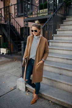Camel Sweater Coat | Stripe Mock Neck Sweater
