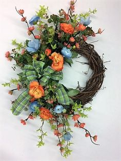 Orange, Blue and Green Silk Floral Summer Front Door Crescent Wreath/Summer Wreath/Summer Decor/Everyday Wreath/Spring Wreath/Ready to Ship - Summer Diy Summer Door Wreaths, Wreaths For Front Door, Holiday Wreaths, Spring Wreaths, Winter Wreaths, Diy Wreath, Wreath Ideas, Tulle Wreath, Hydrangea Wreath